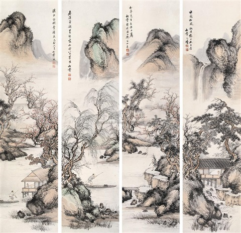 山水 landscape 4 works by zhao songsheng