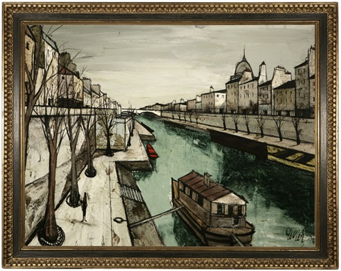 La Seine View Of A Houseboat And Quay Along The Seine Paris By