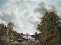 holländische flusslandschaft mit schloss, windmühle und vieh by adrianus van der koogh