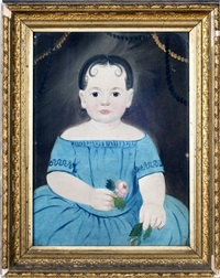 portrait of a young girl in blue holding pink roses by william matthew prior