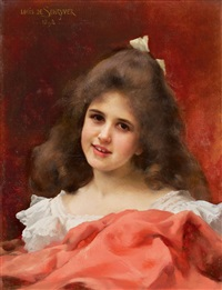 portrait of a young girl with a red cloak by louis marie de schryver