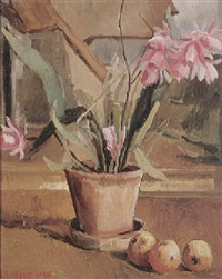 stilleben mit kaktus und äpfeln auf fensterbank mit durchblick ins freie by rudolph jacobsen