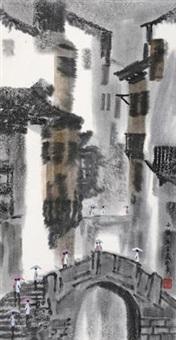 小镇 立轴 设色纸本 by xu xi