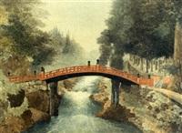 chinese bridge at nikko by g.t. yokouchi