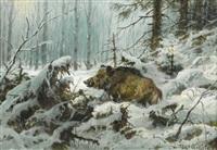 wildschwein im winterwald by johannes gehrts