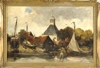 kleine dörfliche werft am fluß mit kirche im hintergrund by hobbe smith
