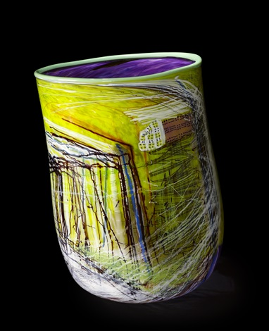 lime green soft cylinder with mint lip wrap by dale chihuly