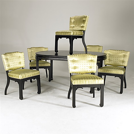 Dining Table (+ Dining Chairs (set Of 6), Silk, Brass,