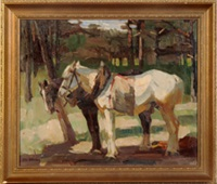 zwei pferde an einer lichtung by otto volmann