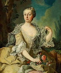 portræt af katharina friginn von knorr i grågrøn kjole med flæsekant og blomster i hånden, siddende i et landskab by anna rosina lisiewski