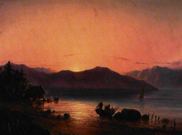 solnedgang over havet i forgrunden hytter på pæle by fritz siegfried george melbye
