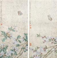 蝶恋花 (两帧) 镜片 设色纸本 (2 works) by liu hongwei