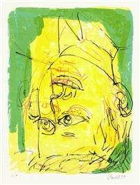 dreimalportrait (from meine kindheit - schmerz und heilung) by georg baselitz