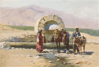 landscape in the caucasus with horse trough by richard karlovich zommer