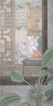荷风送香 镜片 设色纸本 by liu hongwei