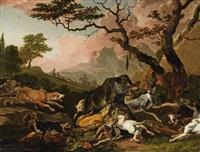 boar hunt by abraham danielsz hondius