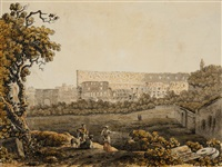 a roman landscape with the colosseum and figural staffage by carlo labruzzi