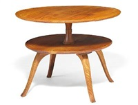 rare circular two-tier coffee table by frits henningsen