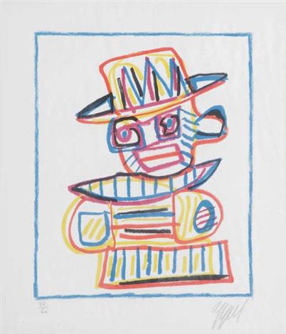personnage au chapeau by karel appel