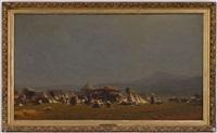 campement de nomades, personnages et animaux by alfred van (jacques) muyden