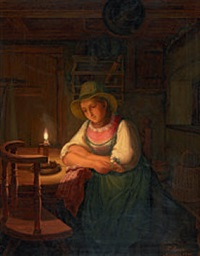 junge bayerin im kerzenschein by friedrich simon