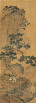 a hermit sitting under the pine by jia quan