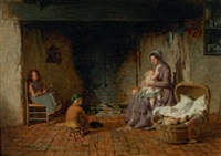 interieur mit familie am kamin by george smith