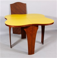 cylinder line dining table with leaf and fitted table pads by henry p. glass