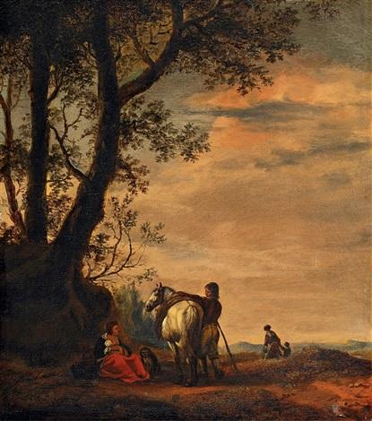 landschaft mit pferd by pieter wouwerman
