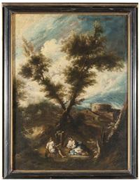 paesaggio con scena galante by antonio francesco peruzzini