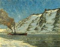blick vom gegenüber liegenden ufer auf die verschneite festung ehrenbreitstein by robert gerstenkorn