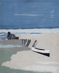 uferlandschaft mit boot by henry wabel