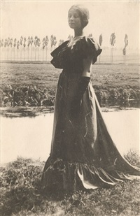 italy (woman standing by a stream) by gertrude kasebier