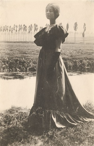 italy woman standing by a stream by gertrude kasebier