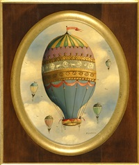 balloons. a large central hot air balloon with four others in the distance by ralph eugene cahoon jr.