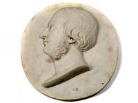 portraitkopf eines mannes mit halblangem haar und backenbart by lorenzo bartolini