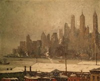 the skyline, lower manhattan by harry shokler