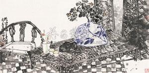 雅室请赏图 by ma shuoshan