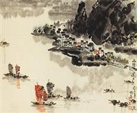 山阴道上 立轴 纸本 by xu xi