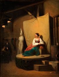 portrait einer dame im atelier by carl spitzweg