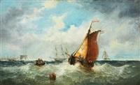 Coastal scene with a Dutch ship, 1864