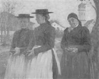 bäuerinnen nach dem kirchgang by oswald kresse