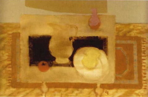 still life yellow rug by william m littlejohn