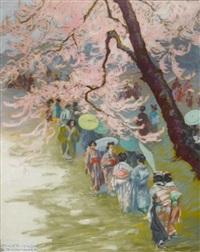 japanische damen spazieren in einem garten mit kirschbäumen in blüte by franz kienmayer