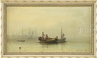 busy harbor under morning mist by elbridge wesley webber