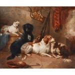 four dogs in interior setting by george armfield