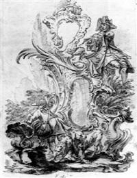 jäger und hunde in rocaillekartusche by jeremias wachsmuth