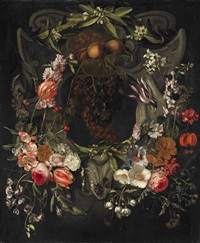flower garland with cartouche by gaspar pieter verbrüggen the elder