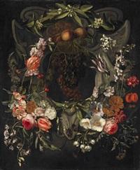 flower garland with cartouche by gaspar pieter verbrüggen the elder