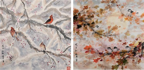 birds (+ flowers; 2 works) by an dong